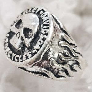 Skull Biker Ring Stainless Jewerly Punk Silver